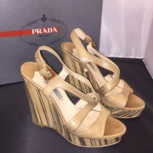 PRADA NUDE BEIGE WEDGE SANDALS 37